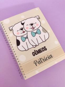 Caderno Gêmeos Cachorro Personalizada com Nome