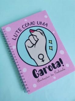 Caderno Lute Como uma Garota Personalizado com Nome