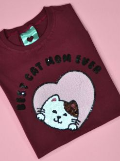 Camiseta Cat Mom Vinho