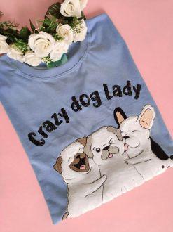 Camiseta Crazy Dog Lady Azul