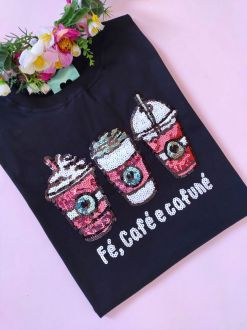 Camiseta Fé Café e Cafuné Preta