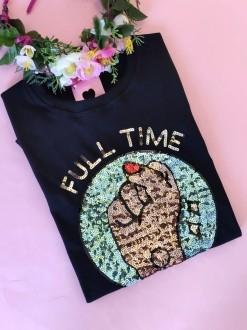 Camiseta Full Time Feminist Preta
