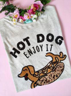 Camiseta Hot Dog Mescla Claro
