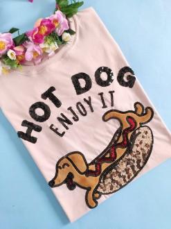 Camiseta Hot Dog Rosa Clarinho