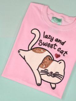 Camiseta Lazy and Sweet Cat Rosa
