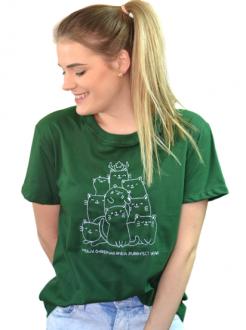 Camiseta Meowy Christmas Verde