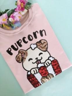 Camiseta Pupcorn Rose Clarinho