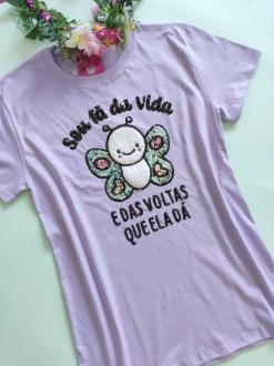 Camiseta Vida Fã da Vida Lilás