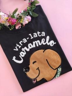 Camiseta Vira-lata Caramelo Preta