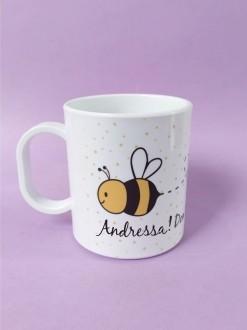Caneca em Polímero Bee Happy Personalizada com nome