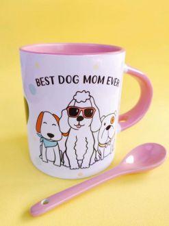 Caneca e Colher Dog Mom personalizada com seu Nome