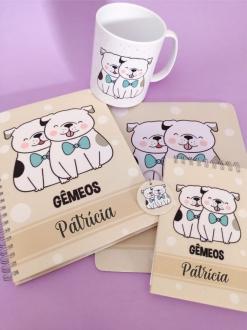 Kit Gêmeos Cachorro Personalizado com Nome (5 peças)