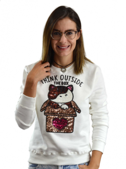 Moletom Cat Box Off White