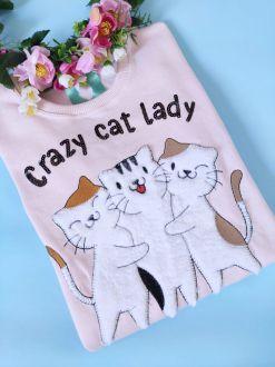 Moletom Crazy Cat Lady Rosa