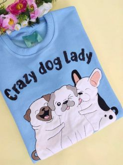 Moletom Crazy Dog Lady Azul