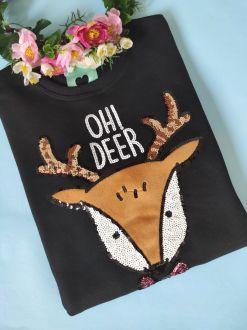 Moletom Oh Deer Preto