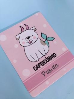 Mouse Pad Capricórnio Cachorro Personalizado com Seu Nome