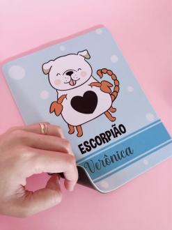 Mouse Pad Escorpião Cachorro Personalizado com Seu Nome
