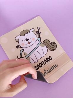 Mouse Pad Sagitário Cachorro Personalizado com Seu Nome