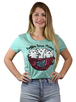 T-shirt Coffee Time Meow Mint