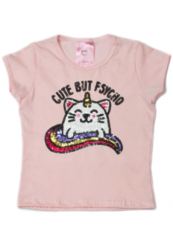 T-Shirt Cute But Psycho Rosa Kids