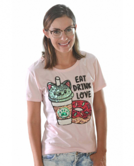 T-shirt Eat Drink Love Rosa