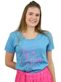 T-shirt Girl Boss Azul