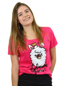 T-shirt Llama Queen Pink