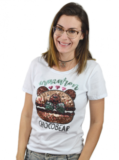 T-shirt Macaron Chocobear Branca