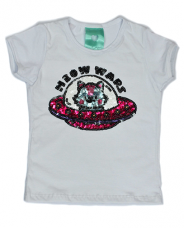 T-Shirt Meow Wars Branca Kids