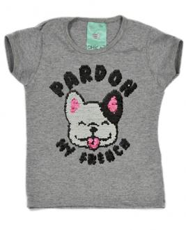T-Shirt Pardon Mescla Kids (Paetê Vai e Vem)