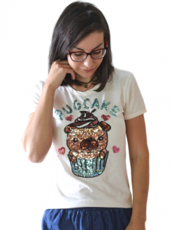 T-shirt Pug Cake Off White