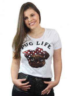 T-shirt Pug Life Branca
