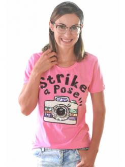 T-shirt Strike a Pose Rosa