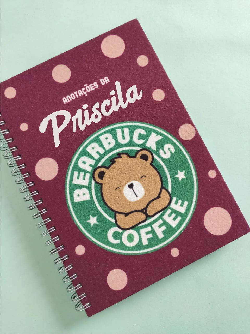 Caderno Bearbucks Coffee Personalizada com Nome