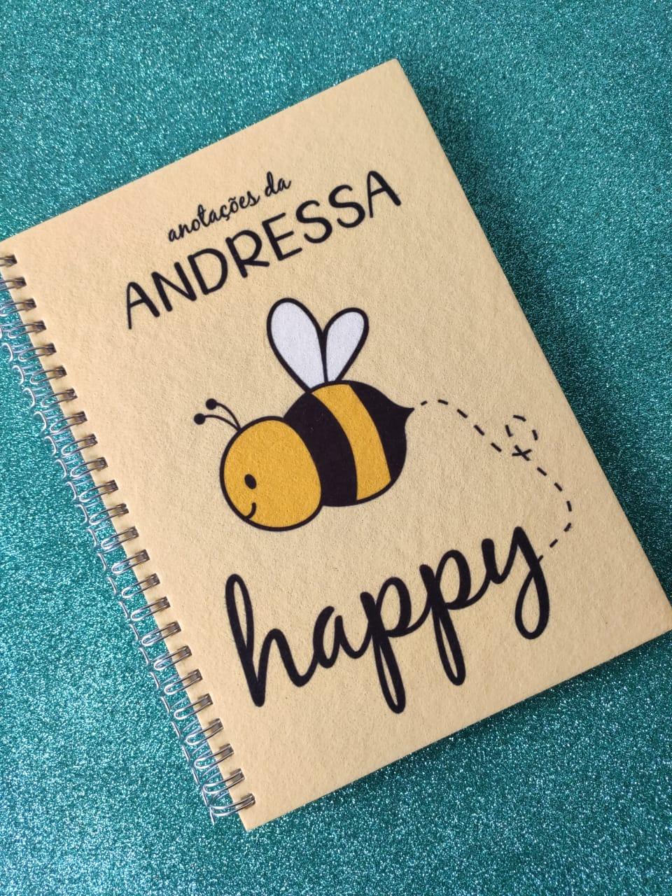 Caderno Bee Happy Personalizada com Nome