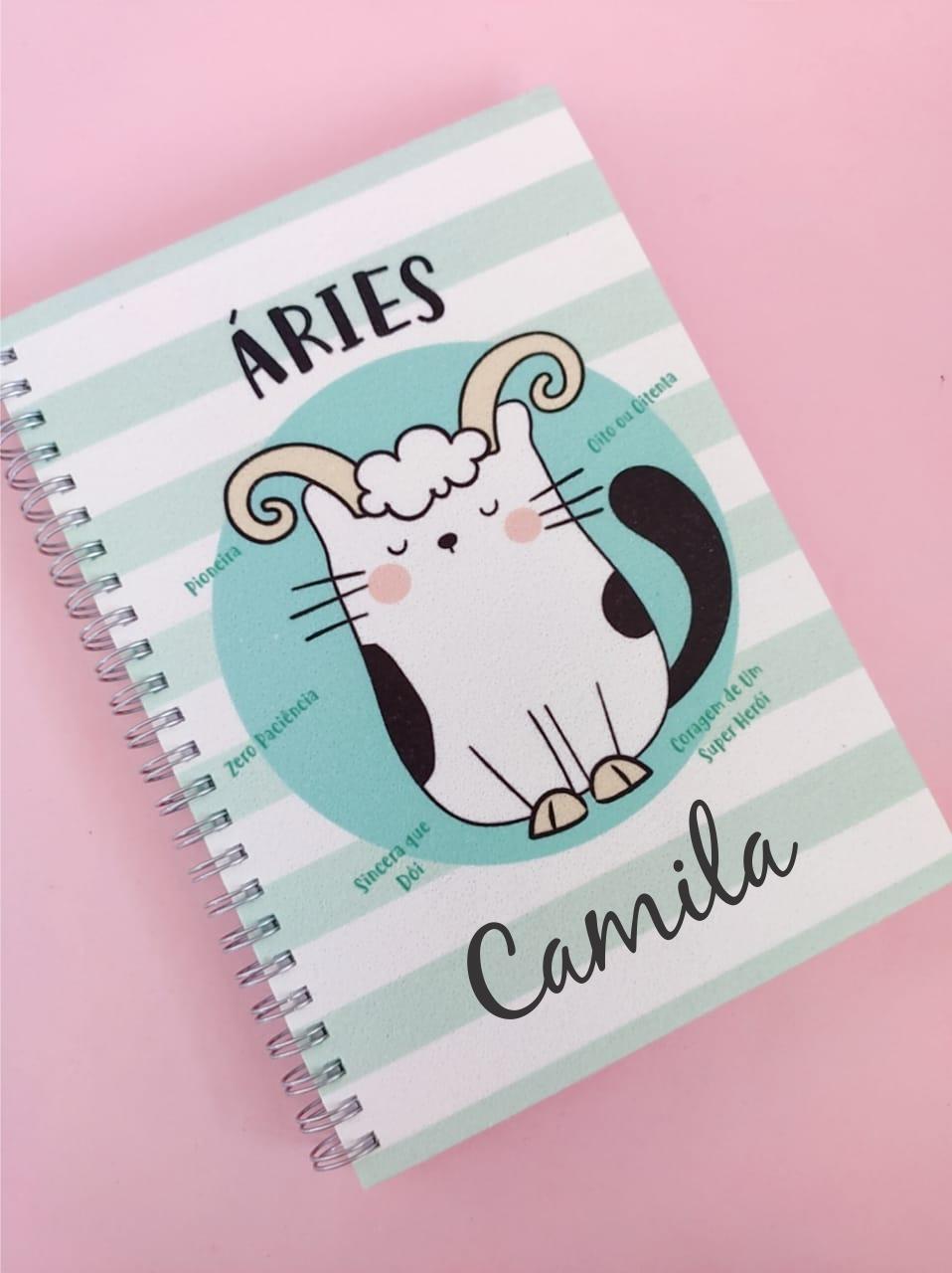 Caderno Áries Personalizada com Nome