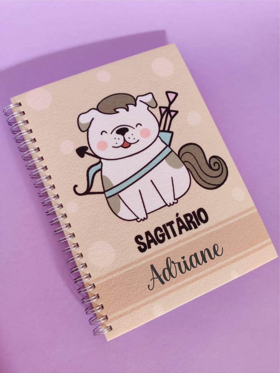 Caderno Sagitário Cachorro Personalizado com Nome