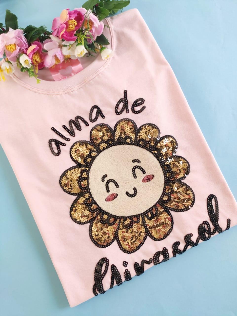 Camiseta Alma de Girassol Rosinha Claro