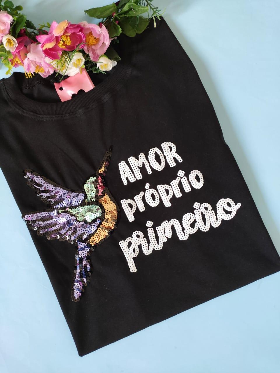 Camiseta Amor Próprio Primeiro Preta