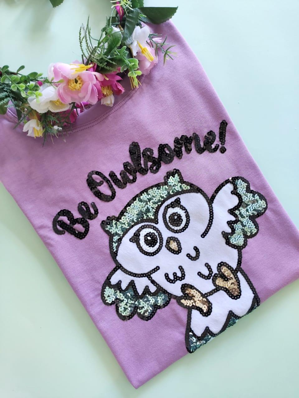 Camiseta Be Owlsome Roxinha