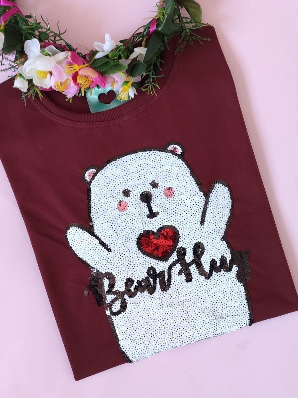 Camiseta Bear Hug Vinho