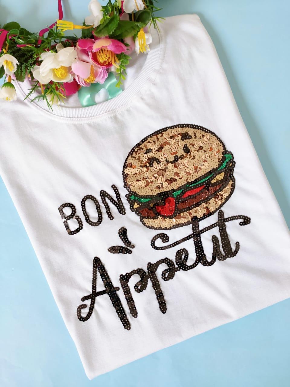 Camiseta Bon Appetit Branca