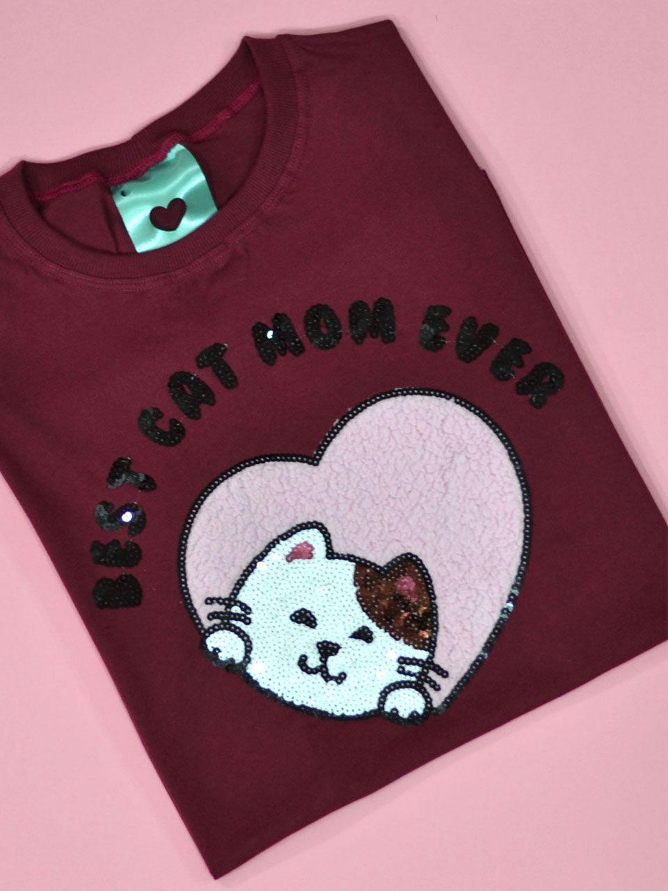 Camiseta Cat Mom Vinho