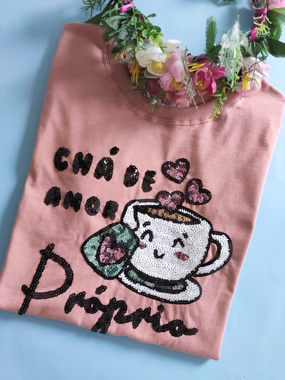 Camiseta Chá de Amor Próprio Rosê Envelhecido
