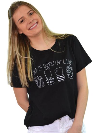 Camiseta Crazy Succulent Lady Preta