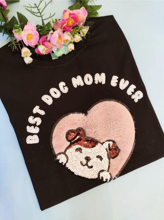 Camiseta Dog Mom Preta