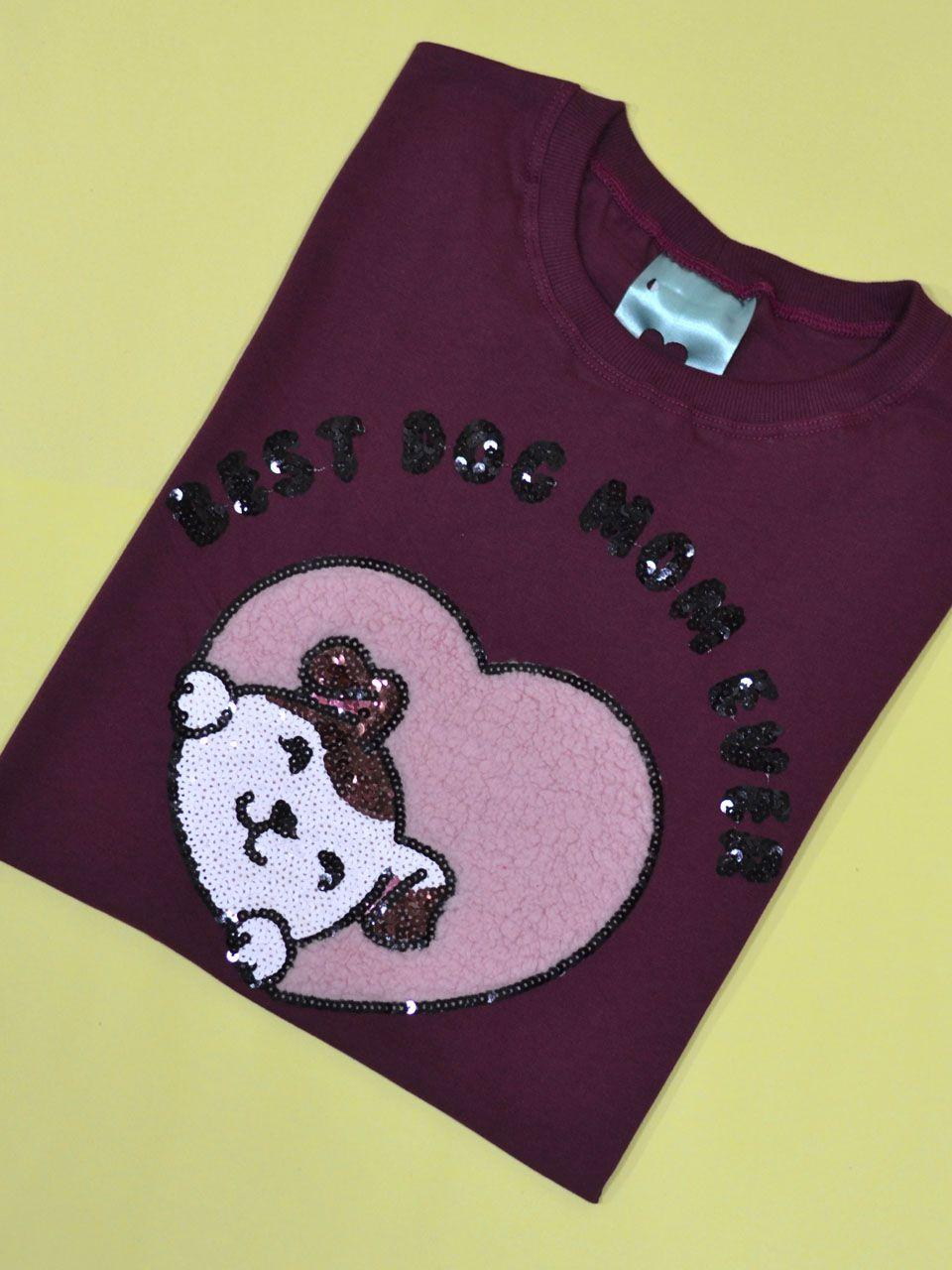 Camiseta Dog Mom Vinho