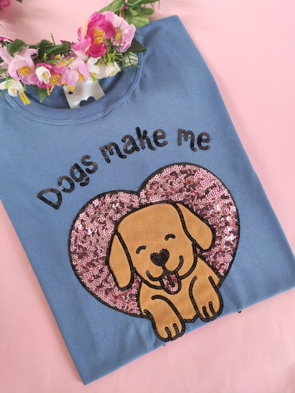 Camiseta Dogs Make me Happy Azul