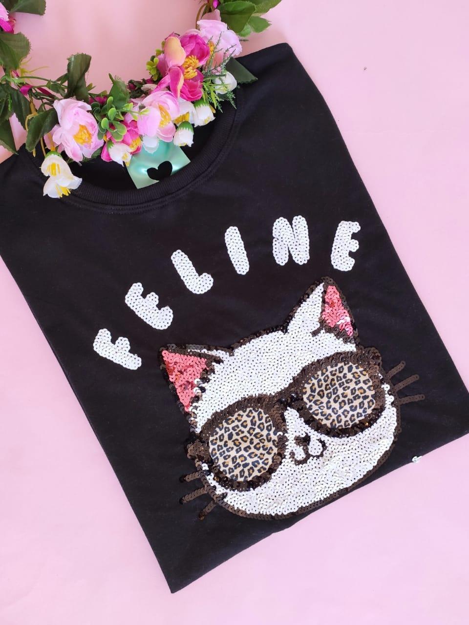 Camiseta Feline Preta